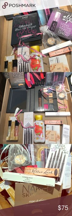Laura Geller bundle-lip gloss, pencils and more  Laura Geller Iincredible waterproof gel eyeliner pencils, Color luster  lip gloss, bake gelato swirl illuminator glided honey, NYX Wonderlust, urban decay liquid lipstick  , urban decay naked skin , setting spray, Versace spray 0.3 spray , bath & Bath works Love and sunshine body lotion  benefits Roller lash mascara and samples bag of goodies  Everything is brand new laura Geller Makeup Eyeliner