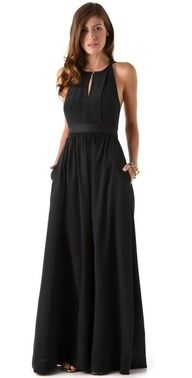A floral headpiece would pair perfectly with this chic maxi