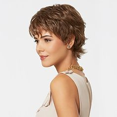 Capless Mix Color Extra Short High Quality Natural Curly Hair Synthetic Wig with Side Bang – USD $ 11.03