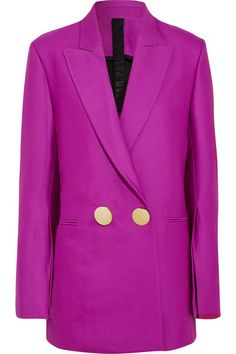 Petar Petrov - Double-breasted Wool And Silk-blend Blazer - Purple