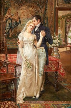 """Honeymooners"" -- by Georges van den Bos (Belgian, Art And Illustration, Illustrations, Romantic Paintings, Classic Paintings, Victorian Paintings, Victorian Art, Art Amour, Molduras Vintage, Classical Art"