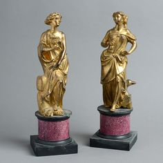 Timothy Langston - A Large Pair of 18th Century Gilt Bronze Figures on Faux Porphyry Socles