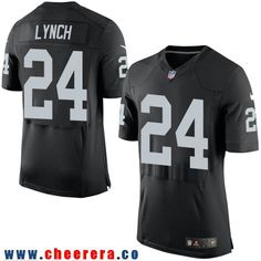 Men's Nike Elite Oakland Raiders #24 Marshawn Lynch Black Home 2017 NFL Draft Jersey