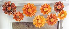 garland paper flowers autumn indian summer falling leaves oranges reds yellows