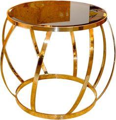 Karl Springer Round Brass Barrel Table