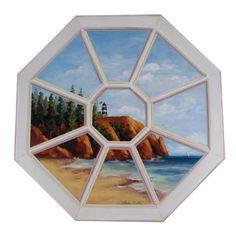 Lighthouse Trompe l'oeil Window Scene Wall Art Plaque