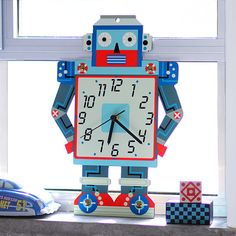 Wall Clock Boys room decor  Blue and Red Retro Robot by GalaStudio