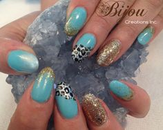 Teal and Gold with Titanium Pearl Color-fade Almond Nails.