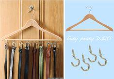 iDesign Classico Tie and Belt Hanger Tie Rack for Wardrobe Made of Metal Belt Holder Matte Black