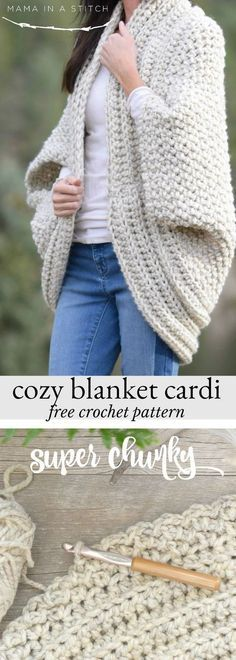 Cozy Blanket Cardigan This super chunky and cozy crocheted cardiga. - Cozy Blanket Cardigan This super chunky and cozy crocheted cardigan is perfect for fall and winter! Free pattern and links to tutorials. via Mama In A Stitch Crochet Shrug Pattern Free, Crochet Patterns, Free Pattern, Crochet Ideas, Pattern Ideas, Knitting Patterns, Free Knitting, Sewing Patterns, Knitting Ideas