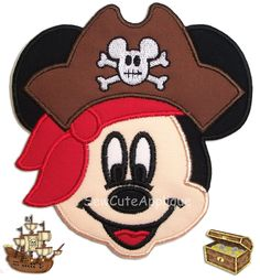 Pirate Mickey Mouse Face No Sew Applique Patch by SewCuteApplique on Etsy https://www.etsy.com/listing/118836283/pirate-mickey-mouse-face-no-sew-applique