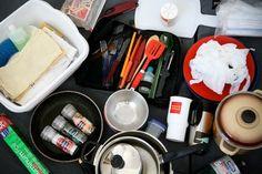 Build a mobile camping kitchen set - excellent list for supplying a tiny vintage camper kitchen.