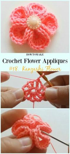 Kanzashi Flower Free Crochet Pattern&Video -Easy Appliques Free Patterns Easy Crochet Flower Appliques Free Patterns for Beginners: Crochet flower, flower motif, beginner crochet flower patterns free Crochet Diy, Easy Crochet Projects, Unique Crochet, Crochet Motif, Crochet Crafts, Free Crochet Flower Patterns, Beautiful Crochet, Crochet Designs, Crochet Ideas