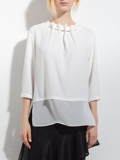 Shop Blouses - Solid Casual 3/4 Sleeve H-line Chiffon Blouse online. Discover unique designers fashion at StyleWe.com.