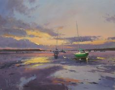 Peter Wileman, painting of boats at low tide Seascape Paintings, Landscape Paintings, Peter Wileman, Nautical Art, Sky Art, Traditional Paintings, Abstract Landscape, Art Oil, Art Gallery
