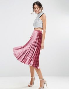 ASOS | ASOS Pink Pleated Midi Skirt in Velvet
