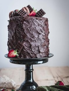 Decadent Chocolate Strawberry Cake – and Happy Birthday to me! Strawberry Sponge Cake, Chocolate Strawberry Cake, Chocolate Sponge Cake, Chocolate Dipped Strawberries, Strawberry Puree, Chocolate Buttercream, Decadent Chocolate, Happy Birthday Me, Tapas