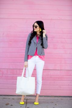 Gingham, Gingham, Gingham… (Pink Peonies by Rach Parcell) Pink Outfits, Pretty Outfits, Chic Outfits, Beautiful Outfits, Striped Jacket, Professional Outfits, Pink Peonies, Types Of Fashion Styles, Fashion News