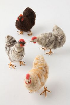 Delightful collection of needle-felted chickens by Dutch artist Josche Mooyman