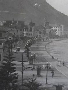 Avenida Atlântica arborizada e com postes de iluminação em 1919 - Foto: Lopes