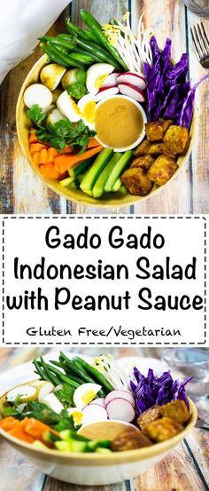 Gado Gado Indonesian Salad with peanut sauce. A healthy and tasty vegetarian salad.#glutenfree #vegetarian #glutenfreemain