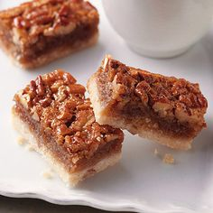 Pecan pie in a bite-sized bar! These pecan pie bars boast a tender shortbread crust.