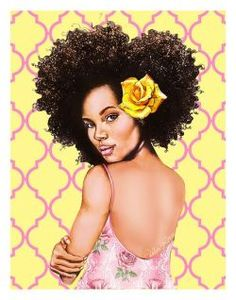 Urban Rose - Piece 2 of the Camille Rose Naturals Urban Rose art collection illustrated by Black Girl Art, Black Women Art, Afro Girl, Curly Girl, Natural Hair Art, Natural Hair Styles, Art Afro Au Naturel, African American Girl, American Girls