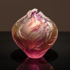 Round Vase - Hyacinth, Gold, Topaz & Salmon by Lois Scott - 9 x 7 - Cold Worked Blown Glass avail from www.westendgalleryltd.com Edmonton, Alberta <3<3<3STUNNING COLOURS ~ GORGEOUS<3<3<3