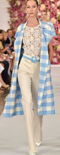 Oscar de la Renta ~ Dusty Blue+Ivory Check Midi Length Coat over Ivory Floral Lace Top + Belted Ivory Slim Pant 2015