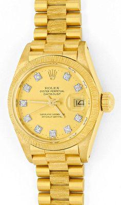 Foto 2, Rolex Datejust Damen-Uhr Gelb-Gold Diamanten Neuzustand, U2032