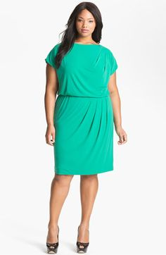 Cocktail fashion - Vince Camuto Pleated Blouson Dress - Plus Size Fuchsia. Green Plus Size Dresses, Plus Size Outfits, Curvy Girl Fashion, Plus Size Fashion, Fashion Women, Plus Size Professional, Vince Camuto, Evening Dresses Online, Dress Online
