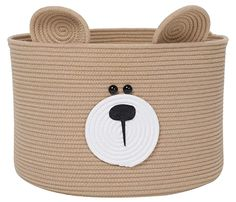 "Amazon.com : Bear Basket, Animal Basket, Large Cotton Rope Basket, Large Storage Basket, Woven Laundry Hamper, Toy Storage Bin, for Kids Toys Clothes in Bedroom, Baby Nursery, Beige 18""x12"" : Baby Toy Storage Bins, Large Storage Baskets, Rope Basket, Laundry Hamper, Nursery Furniture, Cotton Rope, Pet Clothes, Kids Toys, Beige"
