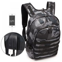 PUBG Backpack Men School Bags Mochila Pubg Battlefield Infantry Pack Camouflage Travel Canvas USB Headphone Jack Back Knapsack Hiking Backpack, Laptop Backpack, Travel Backpack, Backpack Bags, Tactical Backpack, Fashion Backpack, Camouflage Backpack, Back Bag, Bags