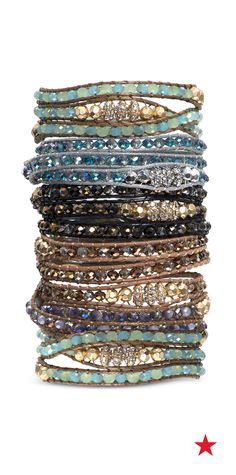 Take some cues from '60s style and layer on colorful and delicate jewelry in silver, gold and turquoise tones like these lonna & lily wrap bracelets.