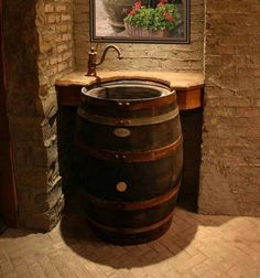 Upcycled Wine Barrel Sink- off kitchen bathroom or man cave bathroom idea