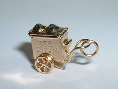 Vintage 14k Yellow Gold 3D Ice Cream Wagon Cart Charm Moves | eBay