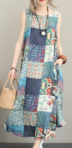 top-quality-floral-cotton-linen-dresses-plus-size-clothing-o-neck-sleeveless-traveling-dress - Women Plus Size Shirts - Ideas of Women Plus Size Shirts Simple Dresses, Plus Size Dresses, Plus Size Outfits, Casual Dresses, Casual Outfits, Linen Dresses, Doll Dress Patterns, Shirt Patterns, Clothes Patterns