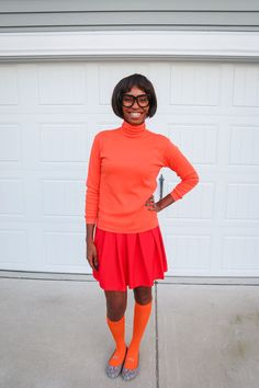 A Fun Scooby Doo Family Costume and How to Create Your Own - Pretty Real Brown Pants, Blue Pants, Red Wigs, Orange Tie, Green Tee, Purple Ribbon, Blonde Wig, Family Costumes, Red Skirts