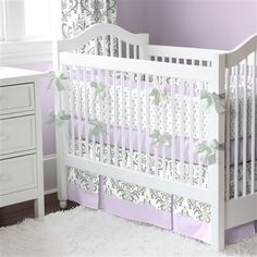 Lilac and Gray Traditions Damask Crib Bedding  LOVE from Carousel Designs