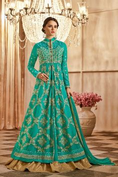 078f319493 Buy online exclusive collection of teal green eid special anarkali salwar  suit in different patterns and price range. Get latest designer anarkali  suits for ...