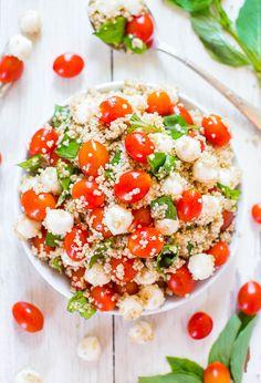 salada de quinoa, tomate e mozzarella