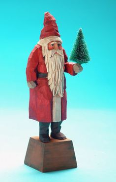 Folk art wood carvings from The Whimsical Whittler :: Red Belsnickle :: Christmas and Santas