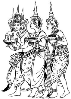 Thailand coloring page. Thai child kid girl. Statues