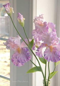 Clay handmade irises, flowers from polymer clay: Светло-сиреневые ирисы. Керамическая флористика - В НАЛИЧИИ - Fito Art