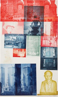 Robert Rauschenberg, Soviet American Array-I enjoy the bright colors combined with old photographs. This artist's work is also chaotic, but the photos are very straight and normal.