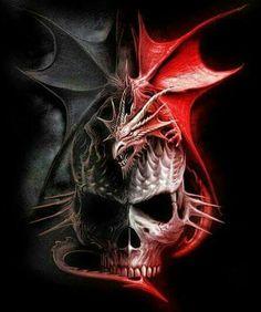 Red & Black Dragon w/skull, luv it! Dark Fantasy Art, Fantasy Artwork, Dark Art, Horror Artwork, Skull Artwork, Dragon Artwork, Skull Pictures, Dragon Pictures, Dragon Tattoo With Skull