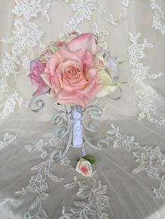 Pink Bridal Bouquet - Blush Bridal Bouquet - Blush Rose Bouquet - Pink and White Roses - Pink and Ivory Rose Bouquet - Pink and White Bouque - pinned by pin4etsy.com