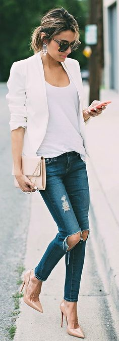 White blazer + distressed denim.