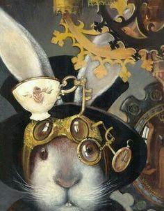 Alice in Wonderland Illustration by Vladimir Ovtcharov Chesire Cat, Rabbit Art, Rabbit Hole, White Rabbits, Arte Disney, Disney Art, Bunny Art, Adventures In Wonderland, Alice In Wonderland Print