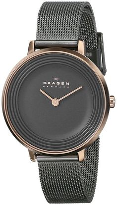Skagen Women's SKW2277 Ditte Rose-Tone Stainless Steel Watch with Black Mesh Bracelet